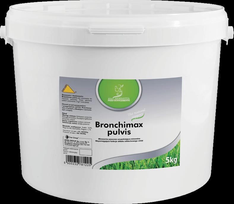 Preparat osłonowy i wspomagający układ oddechowy u cieląt Bronchimax pulvis.